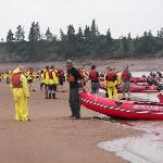 Playing on the huge sand bar, waiting for the tidal bore to roar!