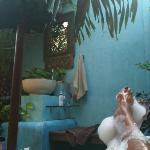 Enjoying my open air Bathtub in the villa ! (usually great after a surf and with a Bintang)