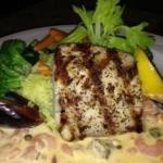 Grilled Yellowtail with Seafood Lemon Caper Cream Sauce