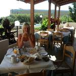 Bilde fra spiseplassen på terrassen. Det er også spiseplass  inne.