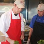Head Chef and assistant prepare their signature crab roll