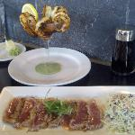 Pakololo Shrimp and Seared Ahi with Asian Slaw