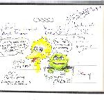 Carroll Spinney's Big Bird & Oscar the Grouch sketches in guest book