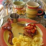partly eaten yummy breakfast