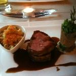 'Country' menu entree with medallions of beef, AMAZING mac and cheese, port sauce and green bean
