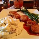Scallops, Providence mashed potatoes, asparagus and a bloody Mary