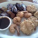 Jamaican Sampler, Jerk Wings, Coconut Shrimp. Plantain, Fried Zucchini