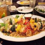 grilled seafood + veggie skewers