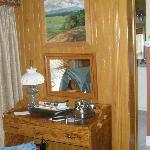 Desk area of room.