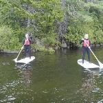 My wife and I on Echo Lake, first time paddle boarding,