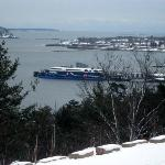 """The Cat"" at dock, Bar Harbor, winter 2011"