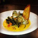 Prawn Bisque with clams, mussels and scallops.