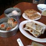 shrimp dumplings, pork siu mai, beef rice roll, pan fried turnip cake