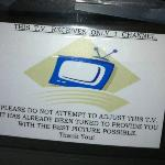 The note of the TV (that has a rotary channel dial).