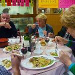 Enjoying our plentiful meal