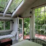 View from inside the cottage, like sleeping in a rain forest... love it!