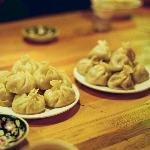 Great momos (Tibatan dumplings) in the restaurant+lobby