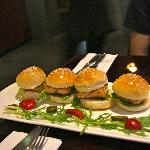 Small salmon burger appetizer