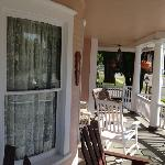 Front porch with curved glass windows