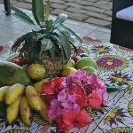 Fruits et fleurs à l'accueil