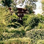 façade du 1er bloc de l'hotel dans la végétation
