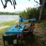 Breakfast on the safari at the shore of the croc lake
