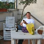 Enjoying the evening on the roof-top terrace after some shopping