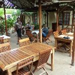 Outdoor dining area under trellises