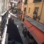 The street behind the hostel from the room balcony