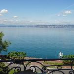 View of Lausanne, Switzerland across lake from front balcony