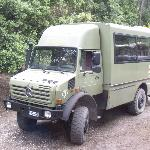 the 4x4 bus at the base of the volcano