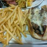 Tri-tip steak sandwich with chipotle sauce.