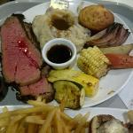 Tri-tip steak platter. US$13.99 - good value, huge platter!