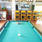 pool table, bar with satellite tv