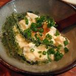 Okinawa-style tofu with umi-budo (sea grape)