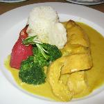 Chicken breast stuffed with mango and in a korma sauce
