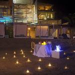 Romantic dinner at the beach.