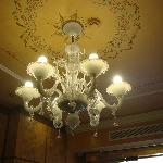 chandelier at check-in