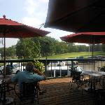 Outdoor dining overlooking 18th green