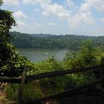 Near the tee on the golf course, overlooking Cheat lake