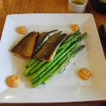 Trout with asparagus and rice