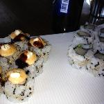 Happy Hour $6 baked California roll and yellowtail rolls were small but quality maki.