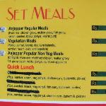 Set Meals menu @ Anjappar