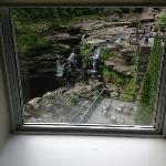 window view of waterfalls
