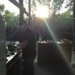 Cooking dinner at sunset.