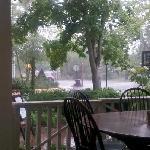 Dinner on the veranda during a rain shower.