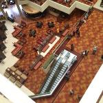 View down into the lobby area