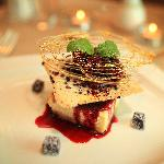 Baked Vanilla Cheesecake, blackberry compote, fruit tuille