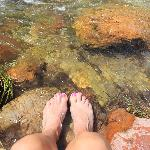 My wife with her feet in the Bright Angel Creek