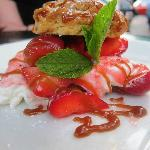 Strawberry Shortcake with Chantilly Cream and Caramel Sauce